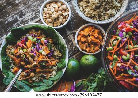 Veggie Bowl over Coconut Quinoa Royalty-Free Stock Photo #796102477
