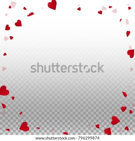 3d hearts. Corner frame on transparent grid light background. 3d hearts valentine's day fair design. Vector illustration. #796299874