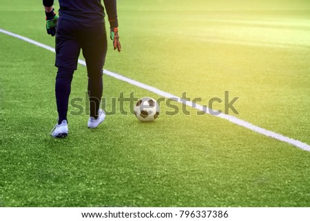 Closeup of a soccer ball and soccer player at the stadium. A beautiful football field with markings. Royalty-Free Stock Photo #796337386