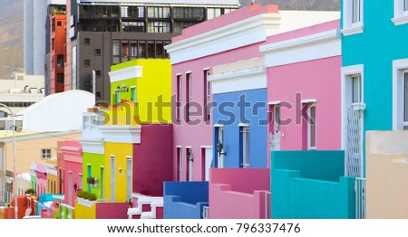 Colorful bright buildings in the historical Bo-Kaap or Malay Quarter district of Cape Town, South Africa Royalty-Free Stock Photo #796337476