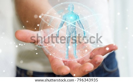 Businessman on blurred background using digital x-ray human body scan interface 3D rendering #796343935