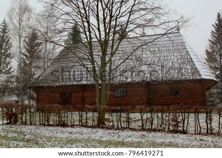 Chernivtsi, Ukraine - December 20, 2017: Regional open-air museum of folk architecture. Exhibition consists of the two architectural and ethnographic areas of Hotynschyna and West Dniester. #796419271