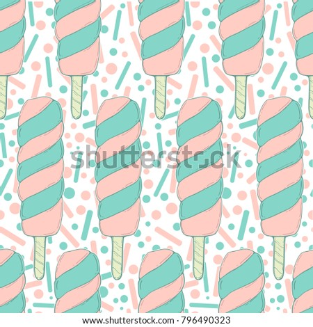 Ice cream vector seamless pattern. Hand draw #796490323
