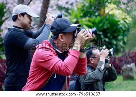 Chiangmai-Thailand. January,14,2018. Photographers are photographing tourist attractions, research stations and agricultural training centers at Khun Mai District, Don Kaeo, Muang Chiang Mai. #796510657