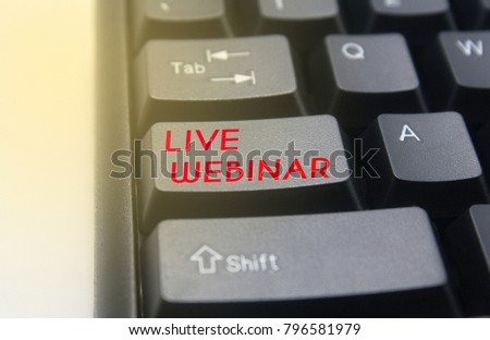 Keyboard button with word live webinar #796581979