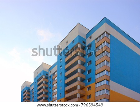 residential new building against the background of the sky blue, view from below #796594549