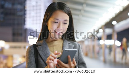 Asian business woman use of smart phone in Hong Kong #796602610