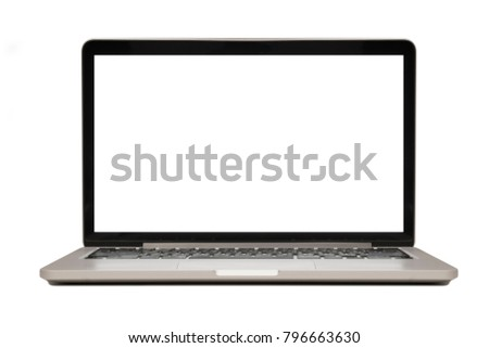 Isolated laptop with blank copyspace on white background Royalty-Free Stock Photo #796663630
