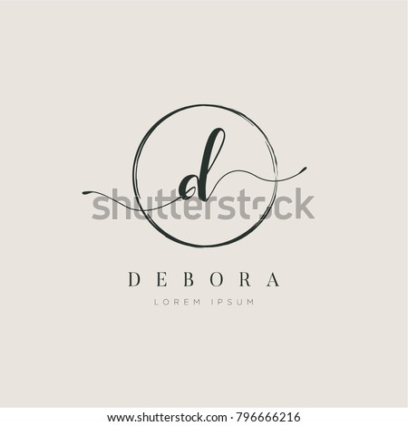 Simple Elegant Letter D With Circle Brush Logo Sign Symbol Icon Royalty-Free Stock Photo #796666216