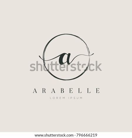 Simple Elegant Letter a With Circle Brush Logo Sign Symbol Icon Royalty-Free Stock Photo #796666219