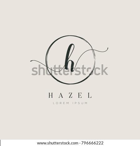 Simple Elegant Letter H With Circle Brush Logo Sign Symbol Icon Royalty-Free Stock Photo #796666222