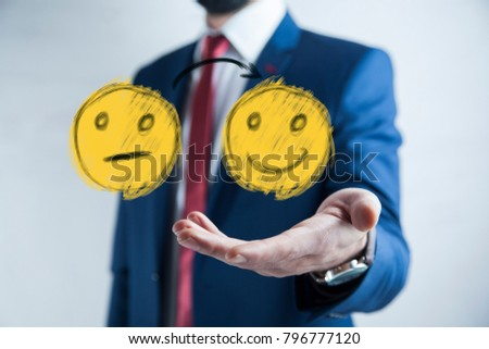 business man select happy on satisfaction evaluation #796777120
