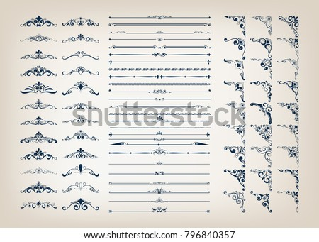 set of vintage frames with beautiful filigree, decorative borders, vector illustration Royalty-Free Stock Photo #796840357