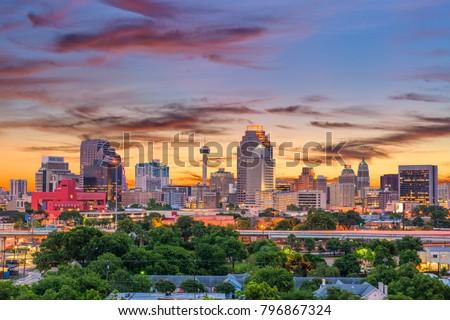San Antonio, Texas, USA downtown skyline. #796867324