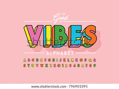 Vector of stylized colorful font and alphabet Royalty-Free Stock Photo #796901095