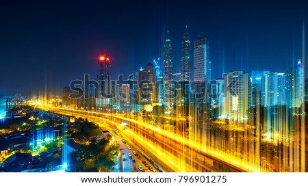 The network light came out from the highway and ground ,modern city with wireless network connection concept , abstract communication technology image visual . #796901275