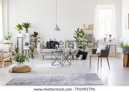 Gray rug, pouf and armchair in spacious floral living room interior with beige settee near dark table #796983796