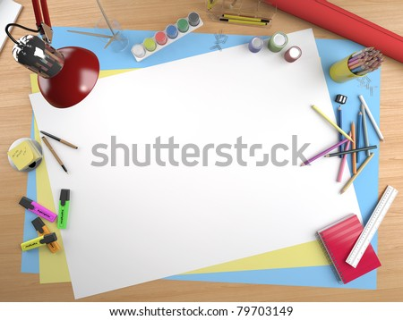 white canvas on a drawing table with lots of stationery objects making a center copy space for you text or design
