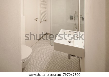 Modern bathroom with floor tiles. Nobody inside #797069800