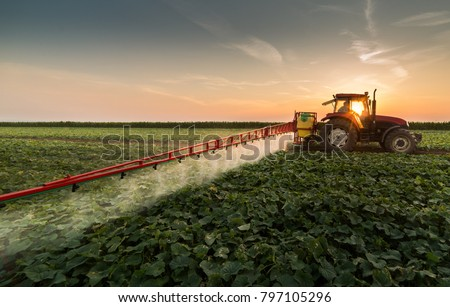Tractor spraying pesticides on vegetable field with sprayer at spring #797105296