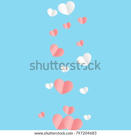 Hearts Falling Background. St. Valentine's Day pattern.   Romantic Scattered Hearts Texture. Love. Sweet Moment. Vector Illustration.   Design for Weddings, Anniversary, Mother's Day.   #797204683