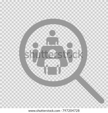 Meeting around table. Magnifying glass vector icon eps 10.