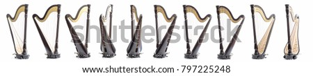 Pedal harp from different angles, in a turn. Dark matt lacquer. On a white background Royalty-Free Stock Photo #797225248