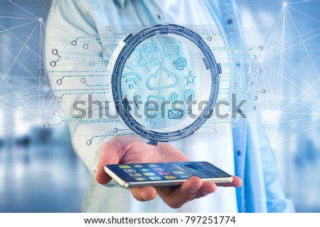 View of a Cloud symbol connection surrounded by multimedia and internet application logo - 3d rendering #797251774