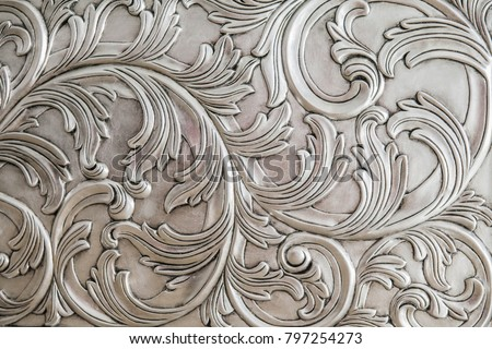 Luxurious classic handmade furniture, carved elements. Barocco, rococo, vintage style. #797254273