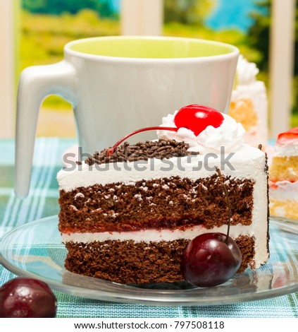 Black Forest Cake Representing Coffee Break And Chocolates #797508118