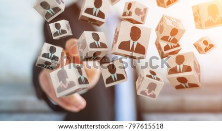 Businessman on blurred background choosing candidate for a job 3D rendering #797615518