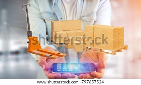 View of Pallet truck and carboxes with network connection system - 3d render #797657524