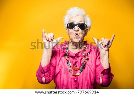 Grandmother portrait set in the studio. Concepts about seniority Royalty-Free Stock Photo #797669914