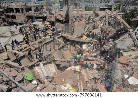 DHAKA, BANGLADESH - APRIL 24, 2013: A top view of Rana plaza building which collapse at Savar, near Dhaka, Bangladesh April 24, 2013. #797806141