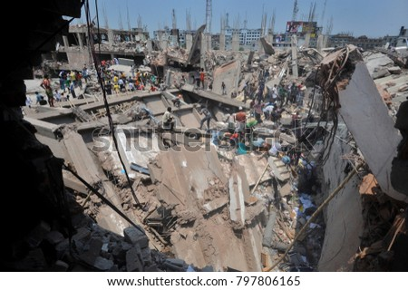 DHAKA, BANGLADESH - APRIL 24, 2013: A top view of Rana plaza building which collapse at Savar, near Dhaka, Bangladesh April 24, 2013. #797806165