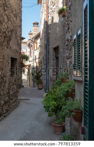 Historic town of Lugnano in Teverina (Terni, Umbria, Italy) at summer. Old typical street #797813359