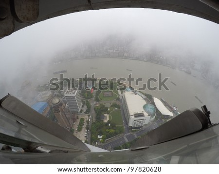 Glass floor view from Oriental Pearl Tower, China. #797820628