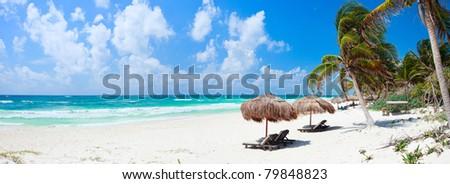 Panorama of Beautiful Caribbean coast in Tulum Mexico #79848823