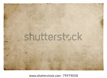 old paper isolated on white background with clipping path #79974058