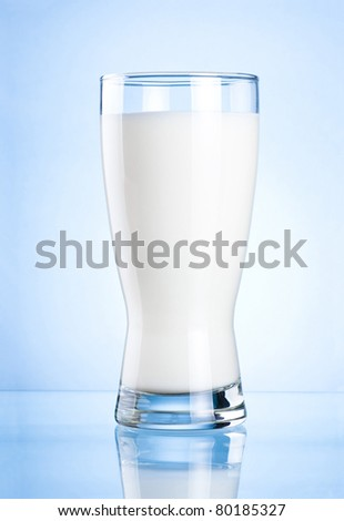 Glass of milk on blue background #80185327