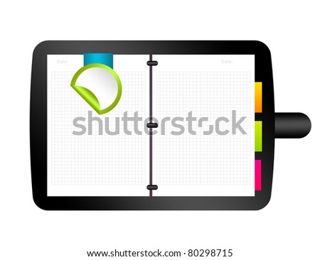 white paper, organizer illustration isolated over white background
