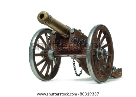 Ancient cannon on wheels isolated on white #80319337