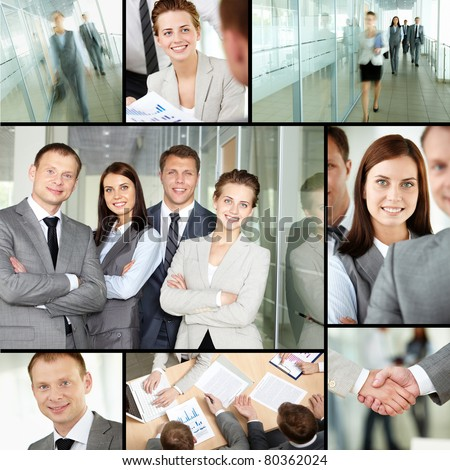 Collage of different business people in office #80362024