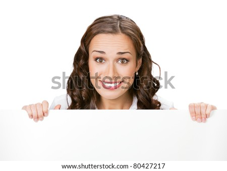 Happy smiling young business woman with blank signboard, isolated on white background #80427217