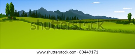 Green landscape with mountains #80449171