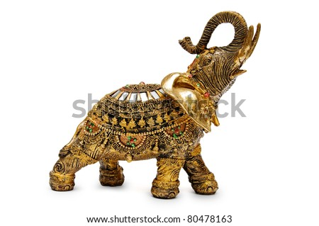Handcrafted indian elephant isolated on a white background Royalty-Free Stock Photo #80478163