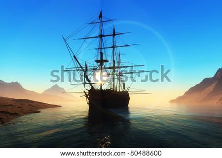 Sailboat in the bay near the island. #80488600