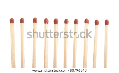 group of whole brown matches (isolated on a white background) #80796343