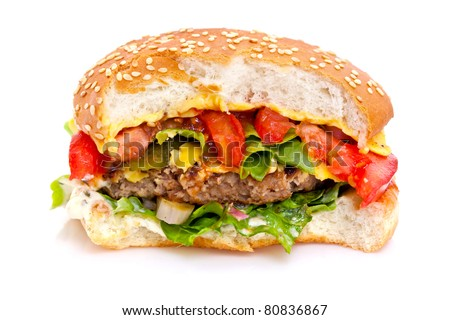 Closeup of a half-eaten fast food hamburger.  White background #80836867