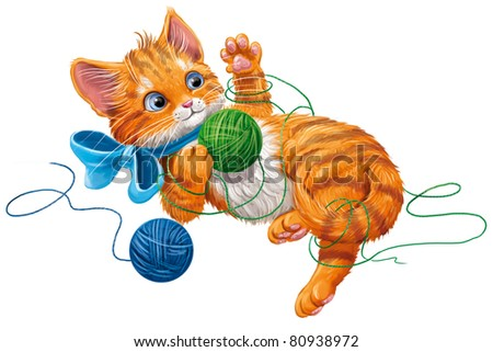 kitten play with ball of yarn